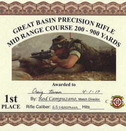 First Place while using Hornady 140Grn ELD Match Ammunition