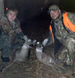 Father and son's first deers together