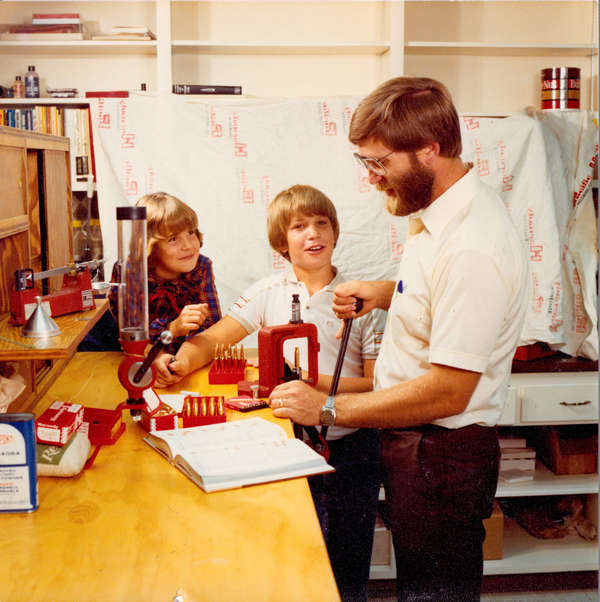 Photo of Steve Hornady & Children at Workbench
