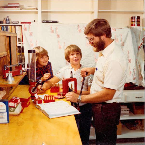 Photo of Steve Hornady & Children at Workbench