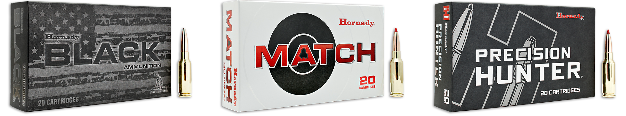 Hornady BLACK, Match, and Precision Hunter packaging